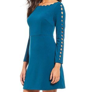 Adrianna Papell Scalloped Boat-Neck A-line Dress